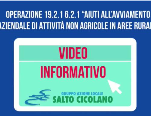 """Video informativo! Misura 19.2.1.6.2.1 """"Aiuti all'avviamento aziendale di attività non agricole in aree rurali"""""""